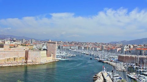 view of Marseille and the old port and fort of Saint jean /the old port and the fort of Saint Jean are located in the center of the city of Marseille overlooking a gulf