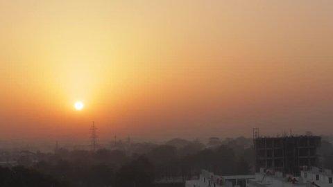 Sunrise shot against Baroda suburban area of Gujarat state, India