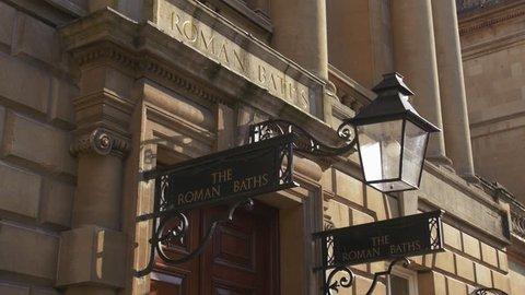 BATH - May 5: Historic Roman Baths Sign on May 5th 2018 in Bath England.