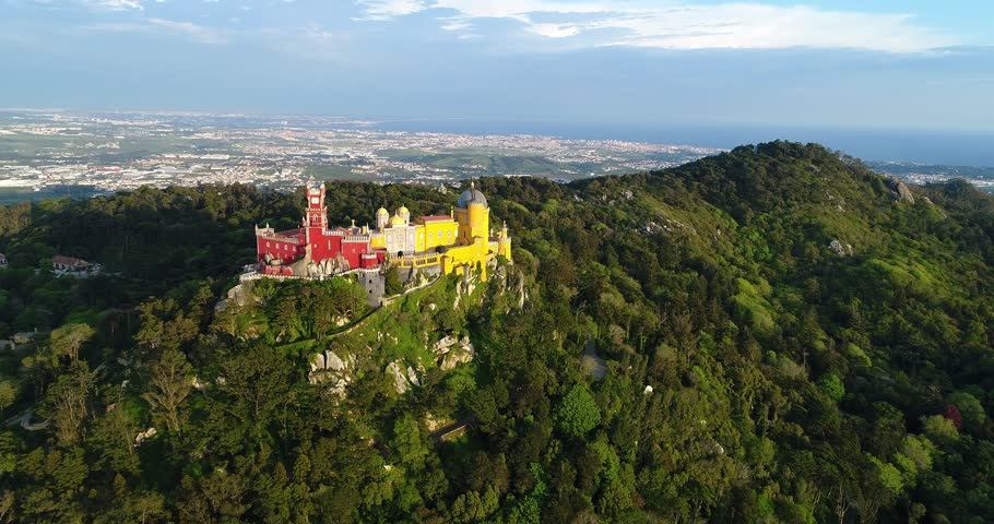 Aerial view of the beautiful Pena Palace (Palacio da Pena) in Sintra, Portugal; Concept for travel in Portugal