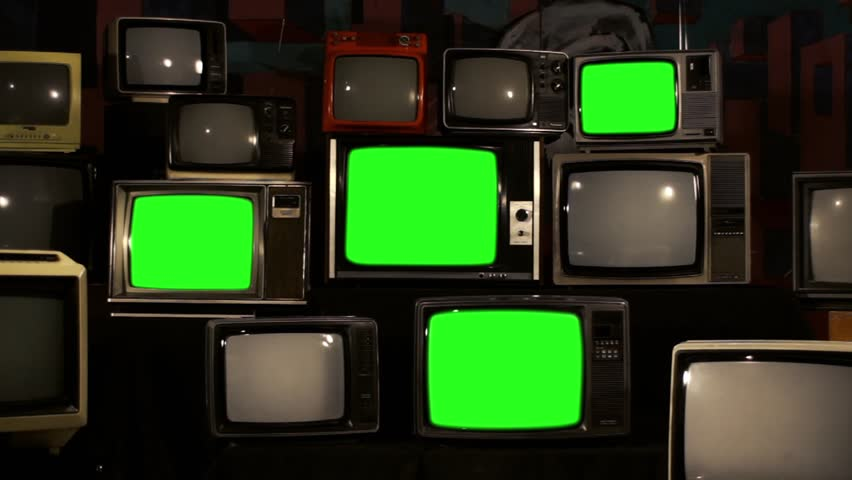 "Four Stacked 80s TVs Turning On Green Screen. Zoom In. Ready to Replace Green Screens with any Footage or Picture you Want. You can do it with ""Keying"" (Chroma Key) Effect. 