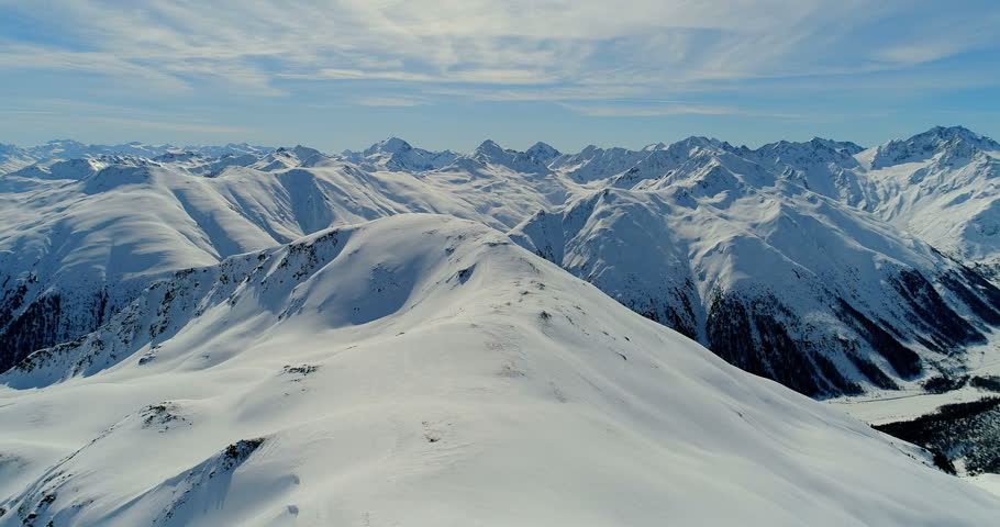 An aerial view over Livigno mountains in winter,