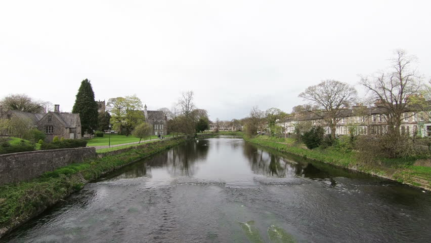 River Kent as it flows through the town of Kendal in Cumbria, Northern England.