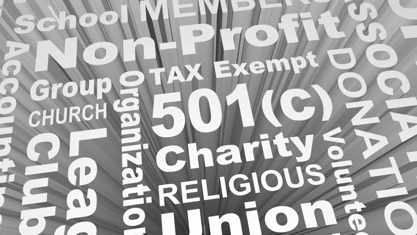 501c Tax Exempt Group Organization Entity Charity Church Word Collage 3d Render Animation