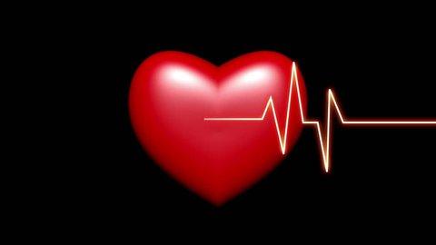 4k Heart beat cardiogram with red heart background,heart monitor EKG electrocardiogram pulse. cg_04055_4k
