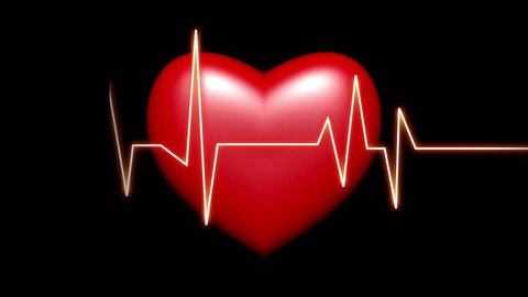 4k Heart beat cardiogram with red heart background,heart monitor EKG electrocardiogram pulse. cg_04055_4k