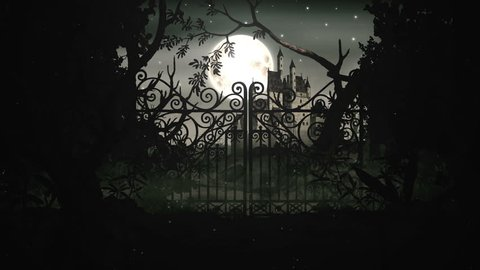 Old medieval and mystic castle in the night with iron gates and full moon. Vintage animation