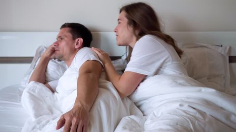 Wife Asks Forgiveness From Her Husband - She Talks Kindly To Him And Apologizes Lying In Bed In The Evening