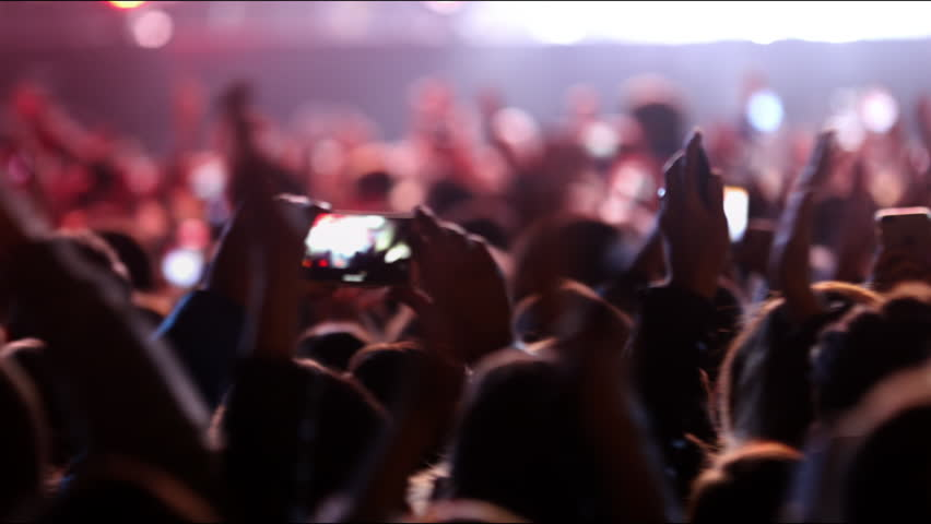 Concert music audience rock performance social people clapping huge party shoulders raising hands heart crowd partying concert arena Flood neon giant nights club jumping hall waving silhouettes dance | Shutterstock HD Video #1011038771