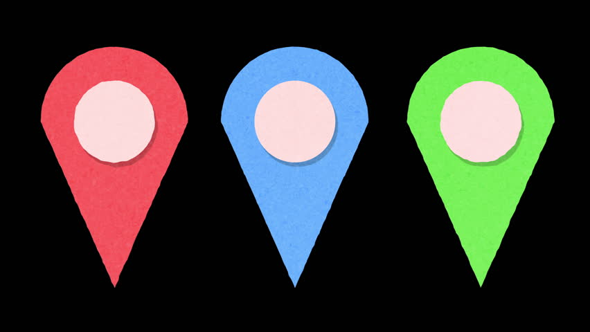 Red, green and blue map marker pins with alpha channel | Shutterstock HD Video #1011043031