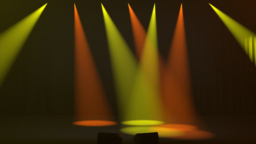 Seven colorful yellow and orange spotlights shining down through a smoky atmosphere onto an empty stage at oblique angles with two silhouetted empty seats in the foreground as 3D rendering   Shutterstock HD Video #1011043421