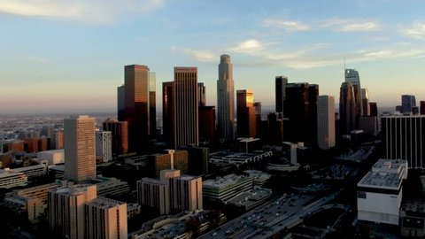 Amazing Los Angeles city view at sunset - drone shot