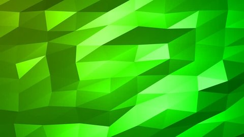 Loopable Abstract Green Low Poly 3D surface as CG background. Soft Polygonal Geometric Low Poly motion background of shifting Green polygons. 4K Fullhd seamless loop background render V68