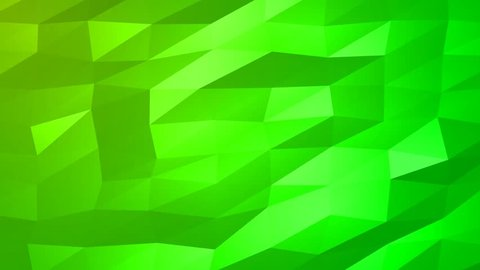 Loopable Abstract Green Low Poly 3D surface as CG background. Soft Polygonal Geometric Low Poly motion background of shifting Green polygons. 4K Fullhd seamless loop background render V70