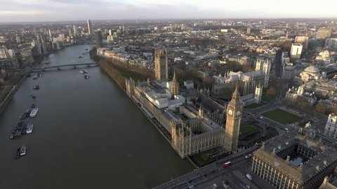 4K London Aerial Cityscape with Famous Tourism Sights Landmarks including the Thames River, Big Ben Clock Tower Parliament, Palace, Bridge and Westminster Square Garden in England, United Kingdom UK
