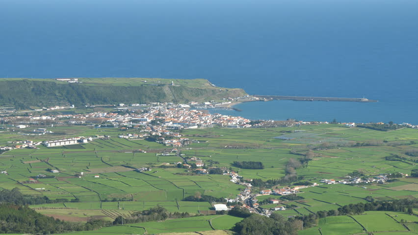 View of Praia De Vitoria City Surrounded By Green Fields, Terceira, Azores