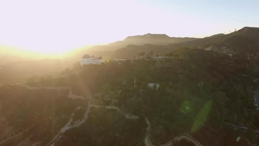 Los Angeles: Griffith Park & Observatory at Sunset (drone/aerial) | Shutterstock HD Video #1011106721