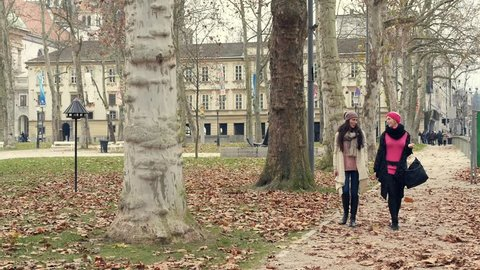 Best friends walking and talking in the city park. High definition video.