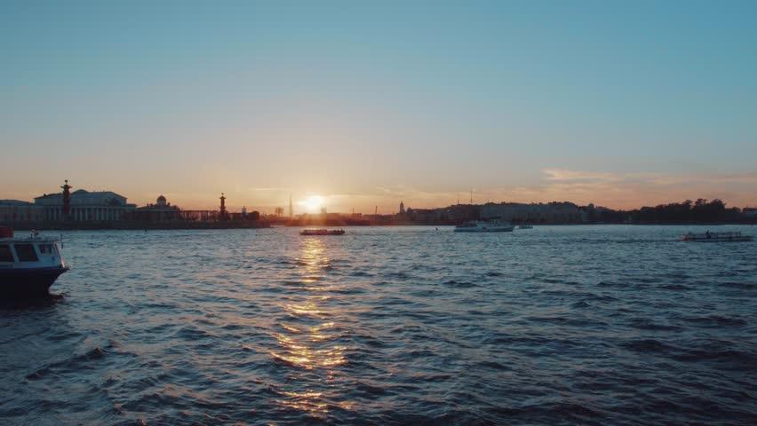 Saint-Petersburg. Sunset on the Neva river | Shutterstock HD Video #1011131021