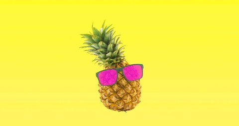 Pineapple dancing with pink glasses yellow background for beach party
