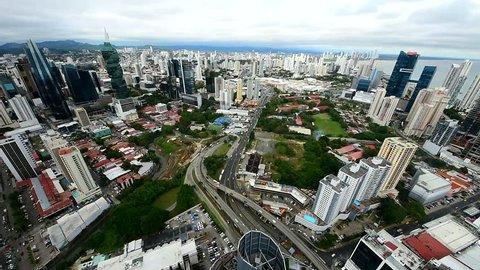 City skyline, Panama City, Panama, Central America. Aerial view of Panama city