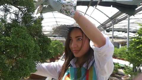 Beautiful japanese girl working in the bonsai greenhouse