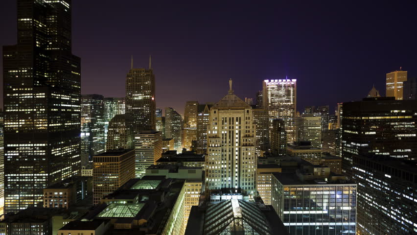 High Angle View of Downtown Chicago as Night Becomes Day