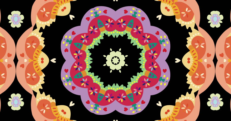 Seamless video background loop. Ethnic pattern of colorful birds and flowers in Kaleidoscopic effects. Repeat loop. Concept of spring, celebration happiness and beauty.