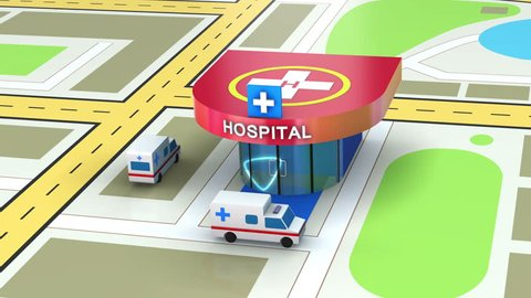 Emergency ambulance transport with heliport, animation concept