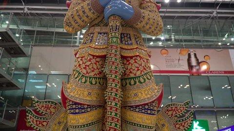 BANGKOK,THAILAND - MAY 20 - 2018: Giant Sculpture at Suvarnabhumi Airport Terminal is symbol of protection and guarding.Suvarnabhumi Airport is one of two international airports serving in Bangkok.