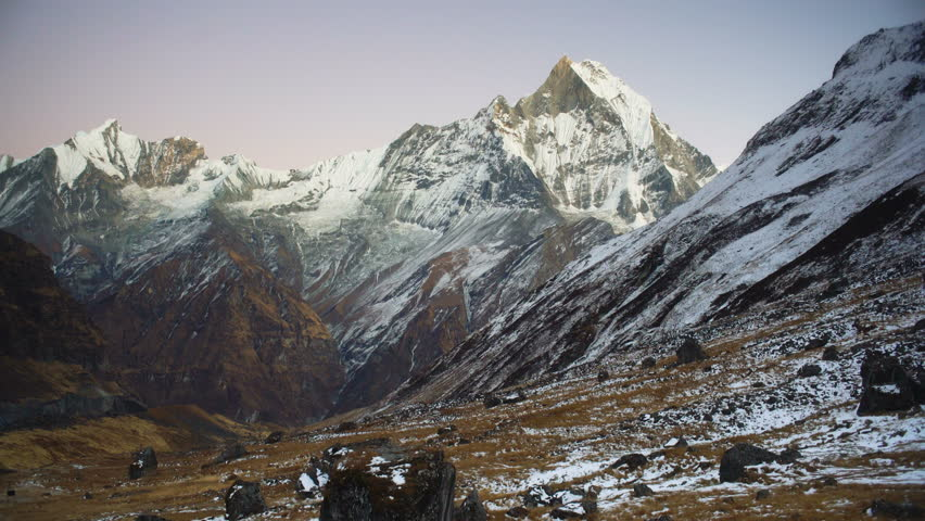 Machapuchare mountain view from Annapurna Base Camp, Nepal, Annapurna circuit, Himalaya, Asia.