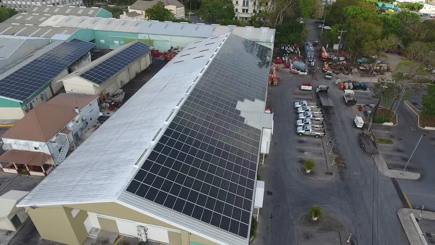 Photovoltaic Solar Panels on city buildings in the Caribbean