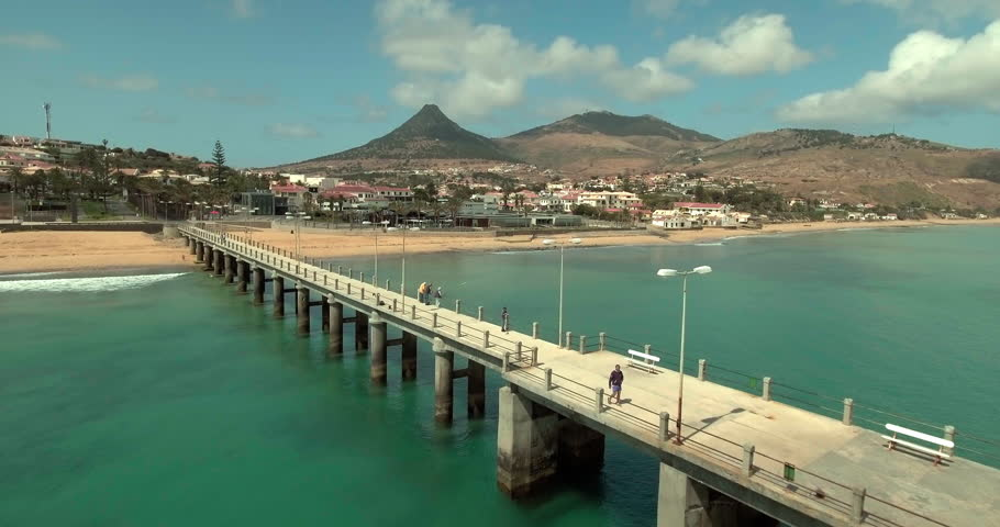 Aerial View. Flying over the Porto Santo, Madeira.
