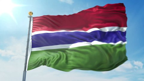 Gambia flag seamless looping 3D rendering video. Includes isolated on green screen and alpha channel as luma matte for easy clipping in AE. Beautiful detailed fabric loop waving in the wind