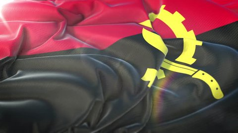 Angola flag.Flag of Angola Beautiful 3d animation of Angola flag in loop mode.Angola flag animation