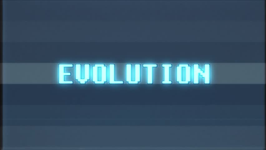 Retro videogame EVOLUTION word text computer tv glitch interference noise screen animation seamless loop New quality universal vintage motion dynamic animated background colorful joyful video m | Shutterstock HD Video #1011361151