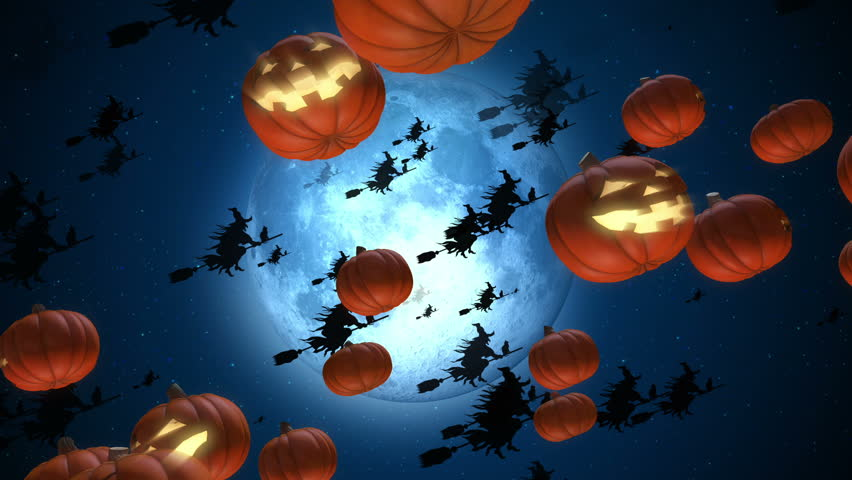 Halloween animation background. You can use it for a technology, stage, communication or social media background. Seamless loop. | Shutterstock HD Video #1011365021