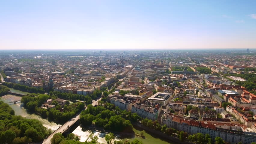 Munich Central Aerial Cityscape in Germany feat. Isar River and Downtown Buildings Skyline HD - 4K