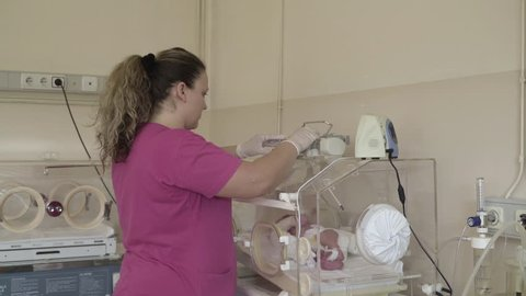 Nurse health caring about cute newborn baby in incubator during treatment in room on maternity hospital, midwife checking little infant isolated after birth, beginning of new life, gynecological ward