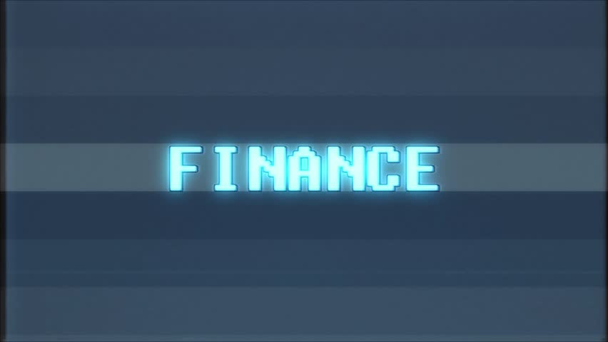 Retro videogame FINANCE word text computer tv glitch interference noise screen animation seamless loop New quality universal vintage motion dynamic animated background colorful joyful video m | Shutterstock HD Video #1011406121
