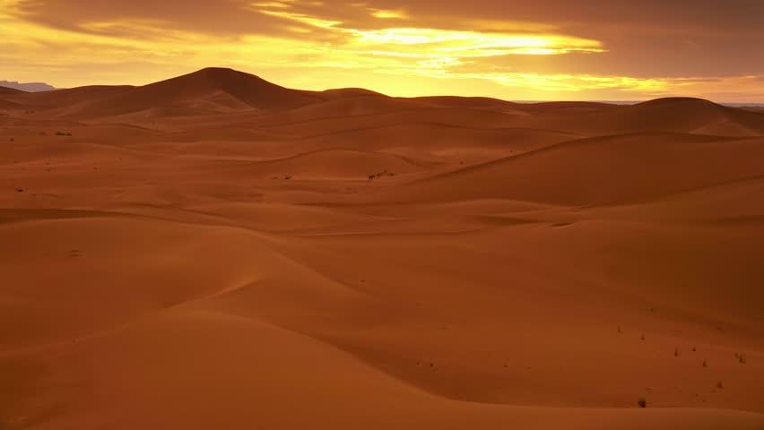Beatiful landscape in Sahara desert at sunset, timelapse 4k #1011408611