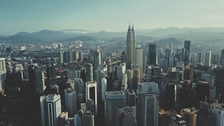 AERIAL. Cinematic style video of Kuala Lumpur city.
