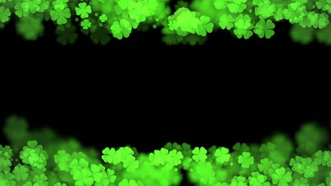 Abstract bokeh light sparkles clover four leaf pattern green color illustration on dark background, seamless looping animation 4K with center copy space