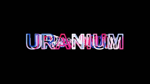 Letters are collected in Element of periodic table URANIUM, then scattered into strips. Alpha channel Premultiplied - Matted with color black