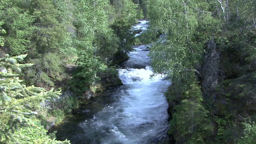River Stream Cooper Landing in Summer in Alaska
