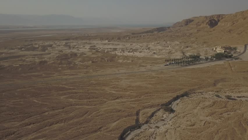 Dead sea desert 4k aerial view ungraded flat | Shutterstock HD Video #1011483161