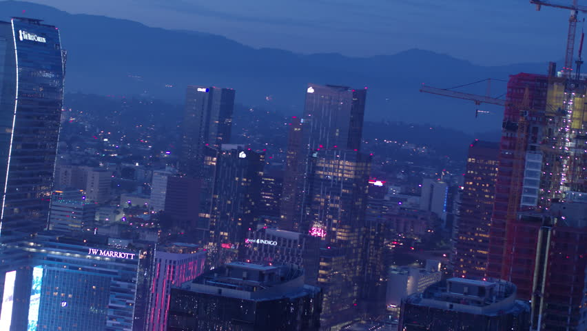 Aerial of DTLA in twilight/ Los Angeles, California | Shutterstock HD Video #1011493331