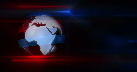 Textless broadcasting news intro graphics animation. Lead-in with rotating globe and title on abstract dynamic red and blue lights in background.