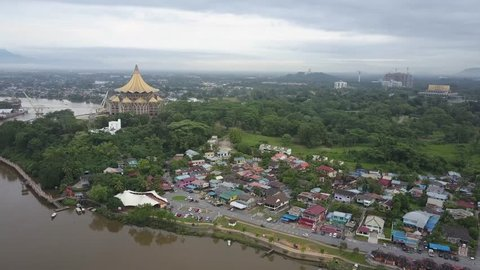 Aerial view of waterfront by the river in a city of Kuching in Sarawak.