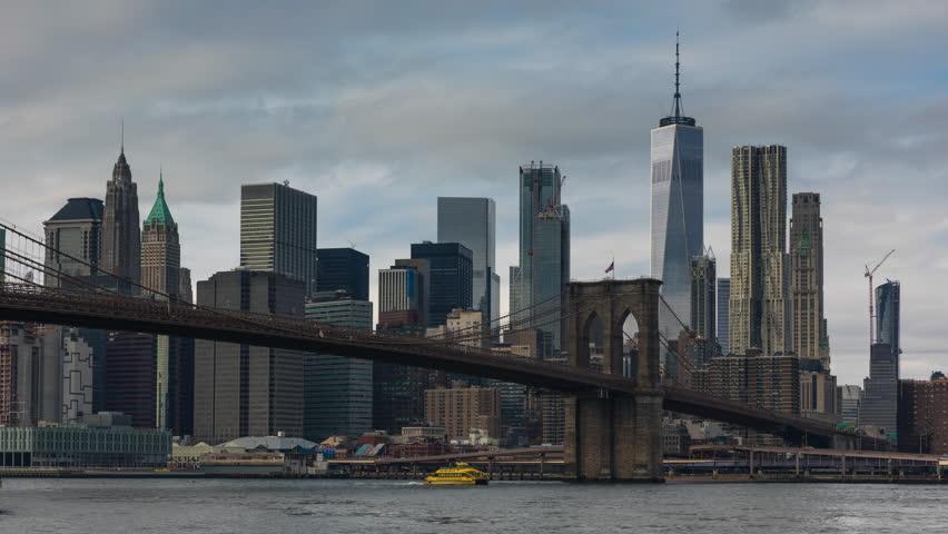 Establishing Shot - Lower Manhattan, New York City Skyline Taken From Brooklyn